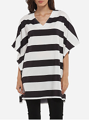 Batwing Loose Fitting V Neck Dacron Color Block Hollow Out Striped Short-sleeve-t-shirt