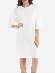 Loose Fitting Round Neck Cotton Hollow Out Plain Maxi-dress