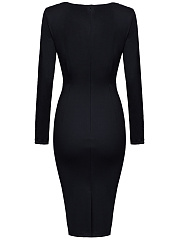 Color Block Decorative Button Bodycon Dress