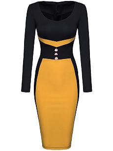 Color Block Decorative Button Bodycon Dress