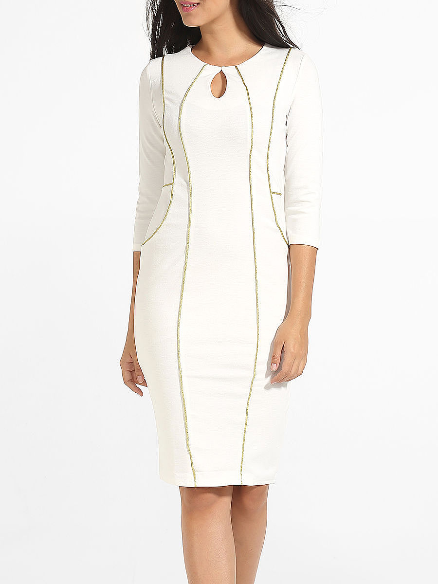 Round Neck Slit Keyhole Bodycon Dress