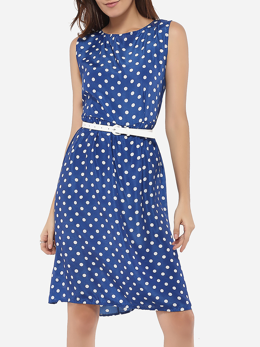 Boat Neck Dacron Polka Dot Skater-dress
