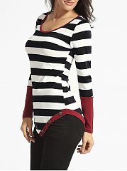 Autumn Spring  Cotton  Women  Round Neck  Patchwork  Striped Long Sleeve T-Shirts