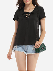 Bowknot Cross Straps Asymmetric Neckline Dacron Hollow Out Plain Short-sleeve-t-shirt