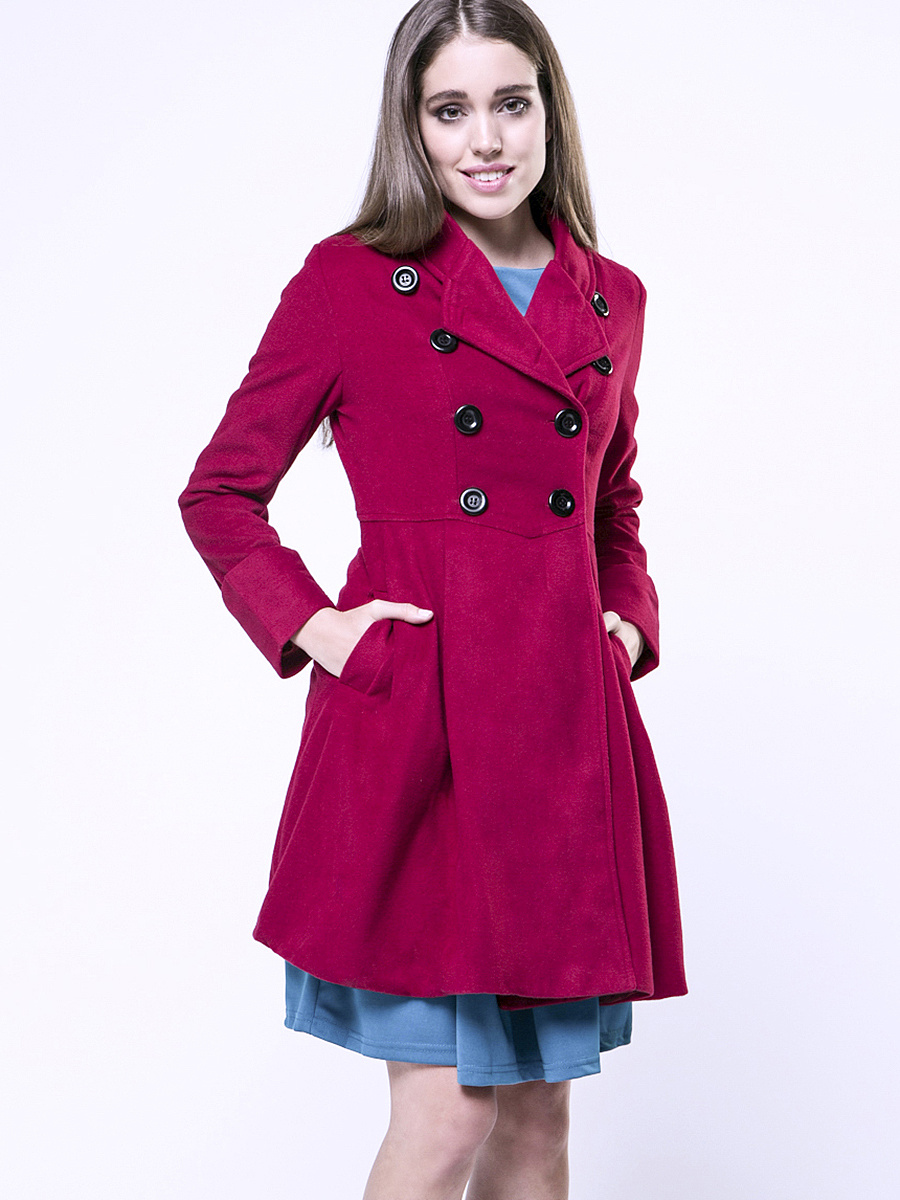 Double Breasted Lapel Velvet Plain Coat