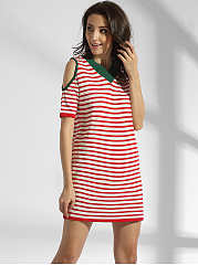 Open Shoulder Cotton Striped Shift Dress