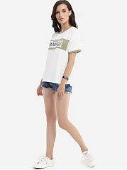 Cotton Assorted Colors Letter Printed Short-sleeve-t-shirt