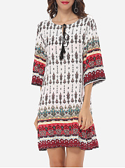 Printed Charming Round Neck Shift-dress