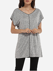 Batwing Loose Fitting V Neck Knit Plain Short-sleeve-t-shirt