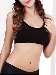 Hollow Out Plain Spaghetti Strap Sports-bra