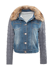 Fur Collar Single Breasted Patchwork Ripped coat