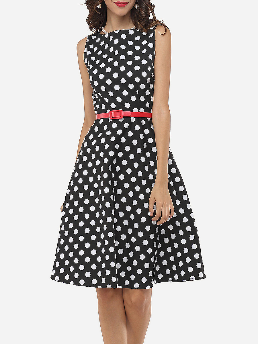 Polka Dot Delightful Round Neck Skater-dress - fashionMia.com