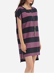 Loose Fitting Round Neck Cotton Assorted Colors Printed Striped Shift-dress