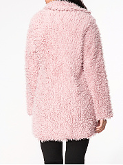 Lapel Plain Fluffy coat