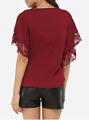 Summer  Polyester  Women  Round Neck  Decorative Lace  Plain  Batwing Sleeve  Short Sleeve Blouses