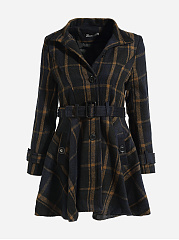 Band Collar Single Breasted Plaid Swing Coat