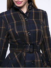 Band Collar  Single Breasted  Plaid  Long Sleeve Coats