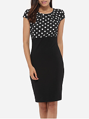 Round Neck Dacron Patchwork Polka Dot Printed Bodycon Dress