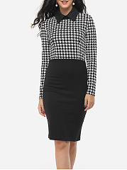Houndstooth Courtly Doll Collar Bodycon-dress