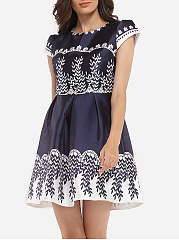Round Neck Dacron Printed Skater-dress