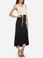 Round Neck Dacron Color Block Maxi-dress