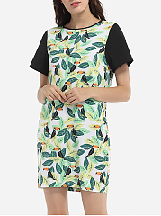 Round Neck Dacron Cartoon Printed Shift-dress