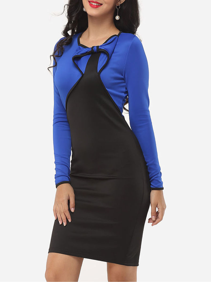 Office Color Block Bowknot Bodycon Dress