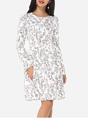 Zips Round Neck Dacron Floral Printed Skater Dress