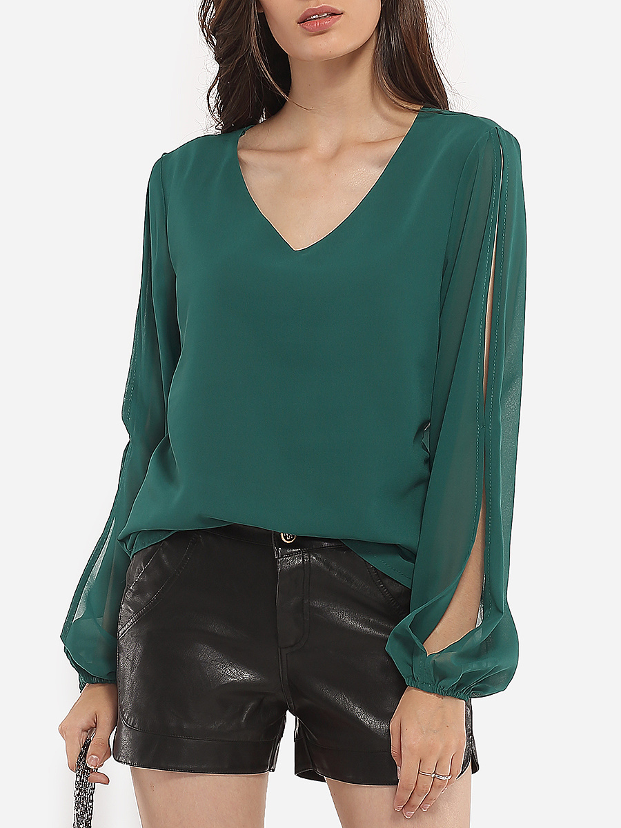 Loose Fitting V Neck Chiffon Hollow Out Plain Blouse