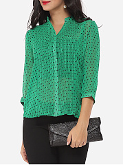 Polka Dot Modern V Neck Blouse