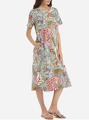 Loose Fitting Round Neck Linen Floral Printed Shift-dress