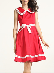 Bowknot Doll Collar Dacron Skater-dress