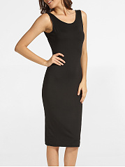 Backless Round Neck Plain Black-dress