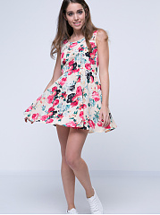 Round Neck Dacron Floral Printed Skater-Dress