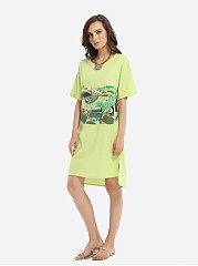 Loose Fitting Round Neck Cotton Assorted Colors Printed Shift Dress