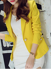 Plain Single Breasted Elegant Lapel Blazer