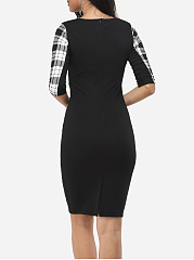 Plaid Pockets Zips Celebrity Round Neck Bodycon-Dress