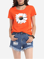Floral Printed Lovely Round Neck Short-sleeve-t-shirt