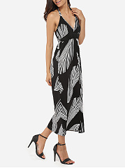 Halter Dacron Printed Maxi-dress