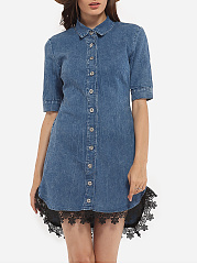 Button Down Collar Denim Embroidery Patchwork Bodycon Dress