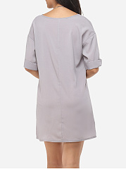 Plain Concise Round Neck Shift-dress