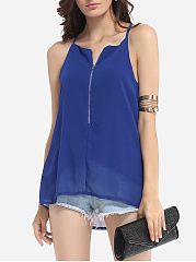 Spring Summer  Polyester  Women  V-Neck  Zips  Plain  Sleeveless Blouses