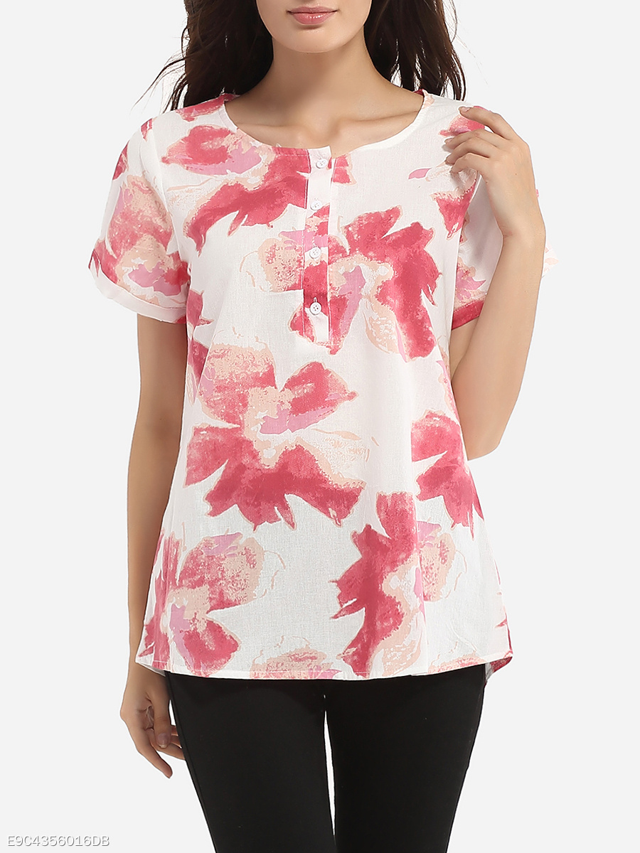 Loose Fitting Round Neck Linen Floral Printed Short-sleeve-t-shirt