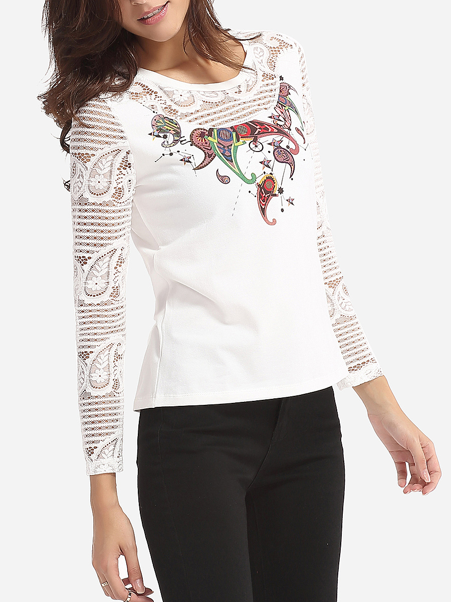 Hollow Out Lace Paisley Patchwork Women's Round Neck Long-sleeve-t-shirt