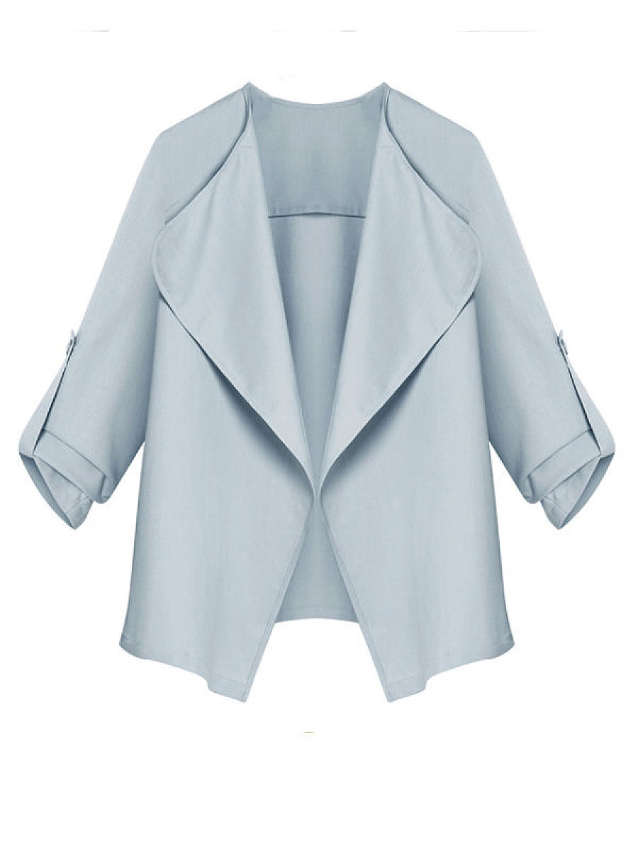 Plain Chic Lapel Trench-Coats