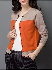 Color Block Single Breasted Collarless Cardigan