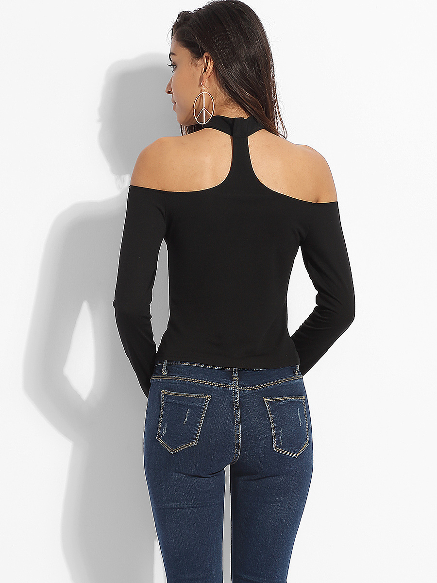 Autumn Spring  Polyester  Women  Halter  Backless  Plain Long Sleeve T-Shirts