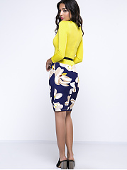 Color Block Floral Printed Bodycon Dress
