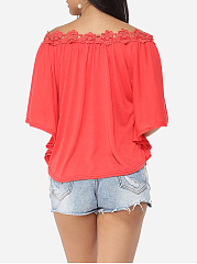 Lace Plain Batwing Loose Fitting Women's Off Shoulder Short-sleeve-t-shirt