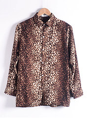 Autumn Spring  Polyester  Women  Turn Down Collar  Leopard Blouses